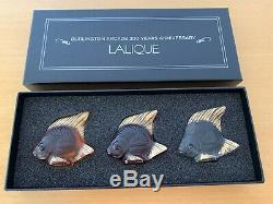 LALIQUE BURLINGTON ARCADE LTD EDT SET OF 3 FISH No 187 of 200. BRAND NEW & BOXED