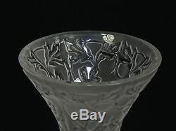 LALIQUE FROSTED CRYSTAL ARABESQUE VASE 5.25 with ORIGINAL LABEL TAG