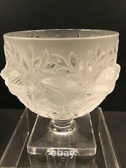 LALIQUE France Elizabeth crystal glass bowl/vase birds & leaves pattern