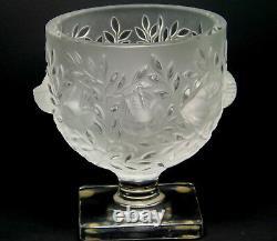 LALIQUE France Elizabeth crystal glass bowl/vase birds & leaves pattern, VG