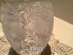 LALIQUE France Frosted Crystal Super Heavy BAGATELLE Birds Vase 5 Lbs EUC