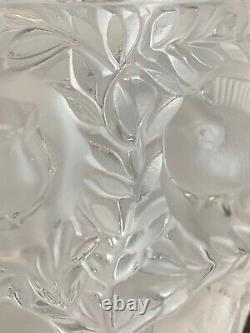 LALIQUE France Frosted Crystal Super Heavy BAGATELLE Birds Vase Signed 5 Lbs