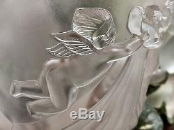 Lalique Angelots Vase Crystal Cherubs Design #12505 Signed Authentic 10.75 Tall