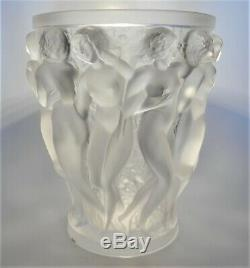 Lalique Art Glass Bacchantes Large French Nudes Crystal Vase 9.5H