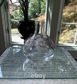 Lalique Atossa Vase With Amethyst Flowers. Beautiful Vase! Exquisite