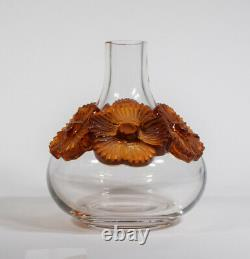 Lalique Atossa Vase with Amber Flowers
