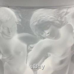 Lalique Bacchantes 9.5 Large Nymphs Women Ladies Frosted Glass Vase