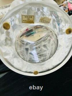 Lalique Bacchantes Large Clear Satin-finish Crystal Vase Signed France 9.45 H
