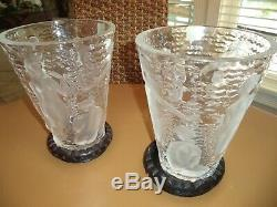 Lalique Bacchantes Ondines Crystal Vase France-NUDE WOMEN MUSES / sticker mint