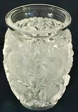 Lalique Bagatelle 6 3/4Vase. Birds & Foliage in High Relief. Satin/Clear Crystal