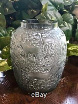 Lalique Biches Vase in Smoke Crystal Excellent Condition Signed and Authentic