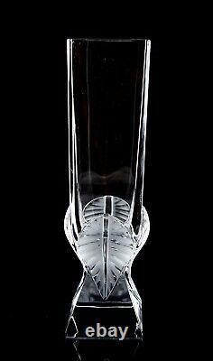 Lalique Broceliande Vase Signed Frosted Leaf Design Vintage Crystal France 11