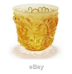 Lalique Crystal Avallon Vase Amber #10362200 Brand Nib Birds Grapes Save$$ F/sh
