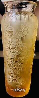 Lalique Crystal Bougainviller 6¾ Amber Gold Vase -Mint Condition