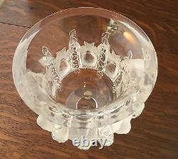Lalique Crystal Dampiere Vase with Frosted Birds and Intertwining Vines