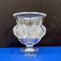 Lalique Crystal France Dampierre Frosted Sparrows / Birds Pedestal Vase