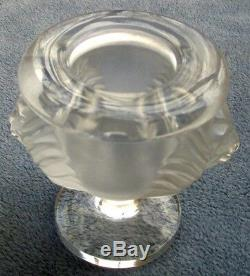 Lalique Crystal Lion Cigarette Holder or Vase Tete De Lion France Mint