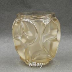 Lalique Crystal Tourbillons Gold Luster Vase