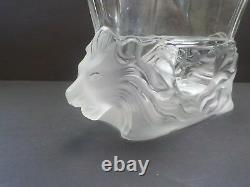 Lalique Crystal VENISE bowl / vase, Frosted Double Lion Heads Base