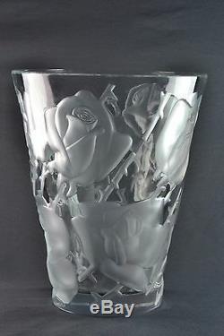 Lalique Crystal Vase, pre-1978 Ispahan Roses Vase