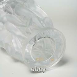Lalique France Bacchantes Frosted Glass Vase, 9.75 Signed