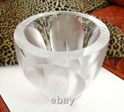 Lalique France Crystal Art Glass Ingrid Vase Leaves Petals Flower Signed Large