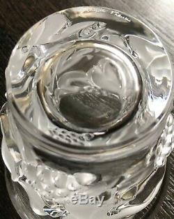 Lalique France Crystal Saumur Grapes & Leaves Vase, 5 1/4 Signed Pre Owned