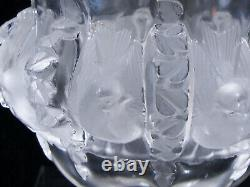 Lalique France Crystal Sparrow Doves Footed Vase Signed