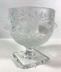 Lalique France Elizabeth Footed Crystal Glass Vase Bowl Birds Sparrow Vintage
