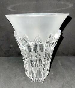 Lalique France Feuilles Frosted Crystal Vase Leaf Design