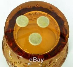 Lalique France Signed Art Glass Romarin Amber Color Votive Vase Beautiful