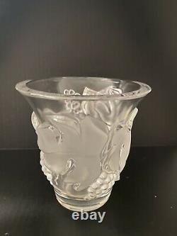 Lalique France Signed Saumur Leaf & Grapes Crystal Pattern Vase Mint