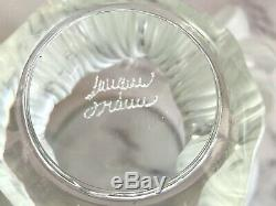 Lalique French Crystal Bagheera Lion's Paw Vase Mint Condition Signed Authentic
