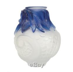 Lalique Imperial Dragon Vase Frosted Crystal & Blue Edition of 99 MSRP $42,000