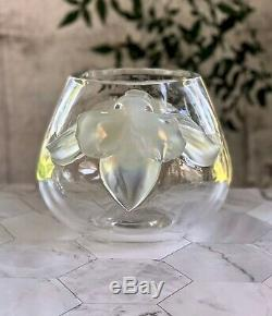 Lalique Orchidee (Orchid) Vase Clear Crystal with attached Opalescent Orchids