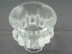 Lalique Paris Crystal Glass Dampierre Vase Birds and Vines