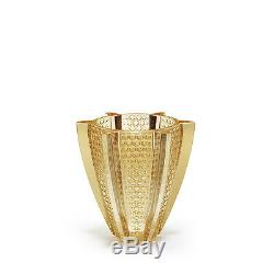Lalique Rayons Small Vase, Gold Luster