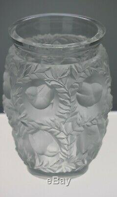 Lalique Signed Crystal Vase Bagatelle of Love Birds in Foliage Made in France