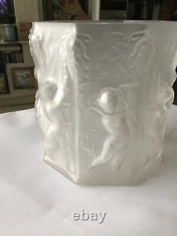 Lalique Style Frosted Style Heavy Glass Bas Relief Cupids, Ladies, angels