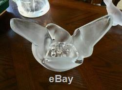 Lalique Sylvie Doves Vase with Frog Flower Insert Mint Signed Authentic Gorgeous