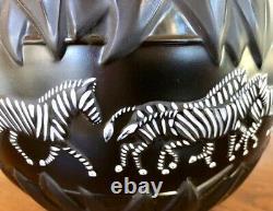 Lalique Tanzania Vase with Black & White Enameled Zebra Decoration Signed MINT