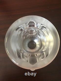 Lalique Vintage Lighter Holder Or Small Vase Double Lion Head No Lighter