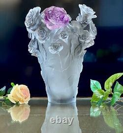 Large 13.8 Daum Rose Passion Vase Silver Gray Ltd Edition Pate de Verre Crystal