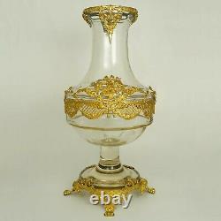 Large Antique French Gilt Bronze Ormolu Empire Style Glass Baluster Vase