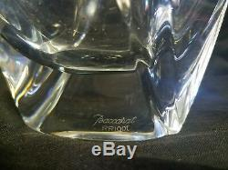Large Baccarat Marked Robert R. Rigot Signed Crystal Giverny Vase Clear 10 5/8