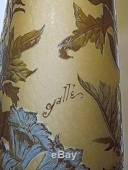 Large Estate Signed Galle French Cameo Glass Vase 23 1/2