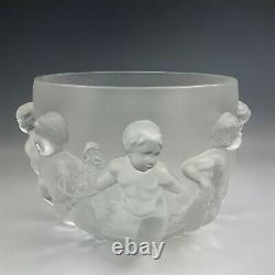 Large Lalique Art Glass LUXEMBOURG Cherubs Frosted French Crystal Bowl Vase DAL