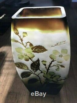 Large vintage Emile Galle reproduction vase dogwood flower signed