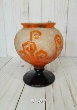 Le Verre Francais Charder Authentic Cameo Art Glass Bowl Orange art deco FLAW