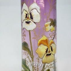 Legras Lamartine Style Art Glass 7.75 Vase, Enameled Pansies, Purple, Gold Leaf